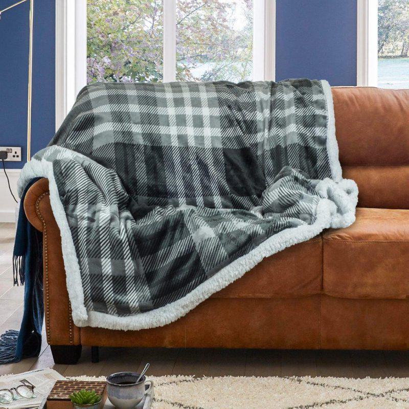 Wiltshire Flannel Sherpa Check Throw