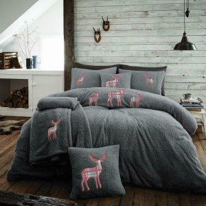 Stag Embroidered Fleece Duvet Cover